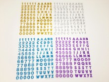 1100pcs/lot Letter and Numbers Self Adhesive Sparkle Rhinestones - Glitter Gemstone Alphabet Self Adhesive Srapbooking Stickers