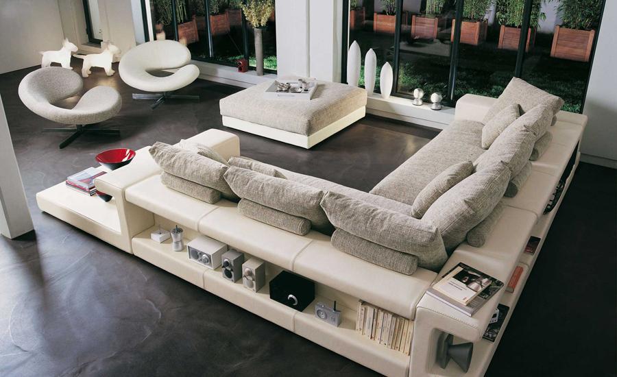 Free Shipping Modern Design L Shaped Leather And Fabric Corner Sofa, With  Bookshelf Storage,