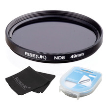 RISE(UK) 49/52/55/58/62/67/72/77mm Neutral Density ND8 Filter +case +cloth for sony nikon canon all Camera lens free shipping(China)