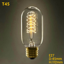 A Vintage Decor Industrial Style Lamp Edison 25W/40W/60W 220V Antique Tungsten Bulb E27 Filament Light Bulbs T45