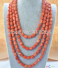 "free shipping $wholesale_jewelry_wig$ free shipping natural 100"" 13x15mm massive pink coral NECKLACE"