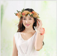 Natural wind simulation headdress flower garlands bride wedding dress take a picture joker hair jewelry(China)