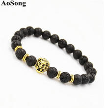 AoSong black Lava stone Lion head Gold color Hand Chakra Energy Bracelets Prayer beads Jewelry Men women pulsera Jewelry