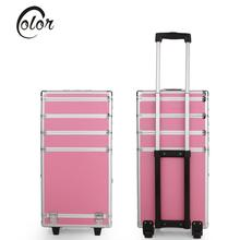 Abody Lockable Makeup Train Case with Extendable Trays Professional Rolling Trolley Cosmetic Case Artist Storage Box Make Up Bag