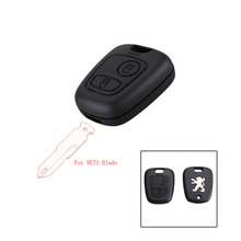 Uncut Blade Car casa Replacement Key Case Shell Key Protection Cover for PEUGEOT 106 206 806 Funda Botones Mando with logo