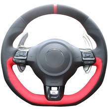 DG Black Suede Black Red Leather Steering Wheel Cover for Volkswagen Golf 6 GTI MK6 VW Polo GTI Scirocco R Passat CC R-Line 2010