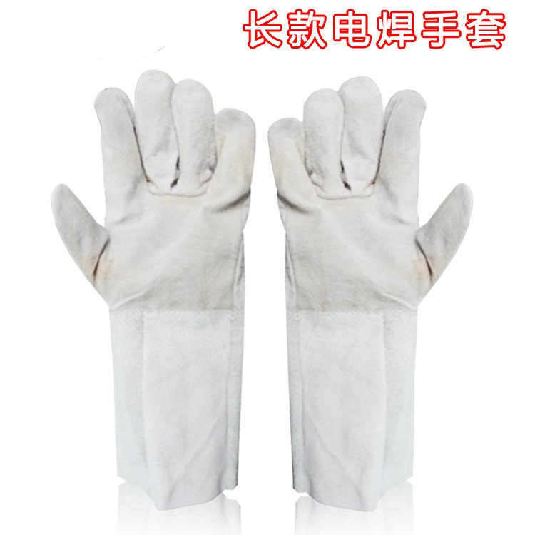 The two layer of leather welding gloves protective long leather 36cm gloves<br>