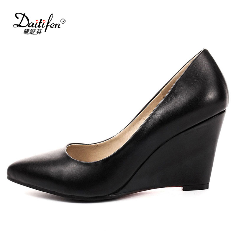 Daitifent  2018 Women Pumps Genuine Leather Wedges High Heel Slip on OL Shoes Pointed Toe Autumn Spring Work Shoes Size 34-39<br>