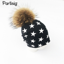 Partisig Brand 2017 Fashion Baby Hat Star Print Fur Ball Hat For Boys And Girls Autumn Winter Children's Hats Caps