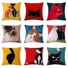 lovely smart red black cat Cushion(No Filler) Polyester Family affection Sofa Car Seat family Home Decorative Throw Pillow(China)