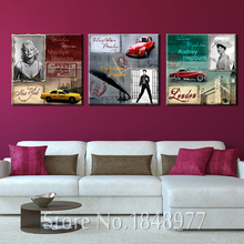3 Piece Modern Movie Star  Wall Art Marilyn Monroe Audrey Hepburn Car Oil Painting On Canvas Wall Picture For Living Room