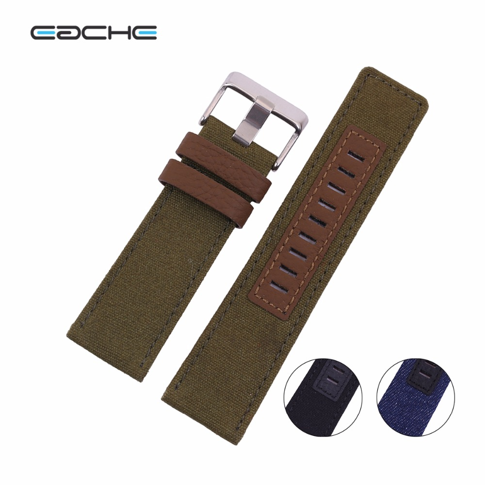 EACHE 26mm  Canvas  Watch Band Nylon Watch Straps The Inner Layer Made Of  Genuine Leather   For Men<br><br>Aliexpress