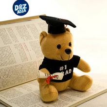 Hot plush doctor bear 1pcs  7'' Dr. Bear learn to read Bear plush toy doll graduation gifts