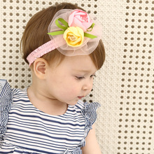 New Creative Pink Yellow Rose Flower Hairbands Children Headbands Elastic Hair Band Kids Hair Accessories Girls Headwear(China)