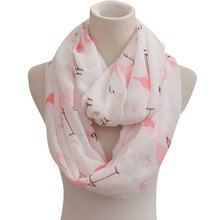 Lady Flamingo Printed Infinity Scarf Viscose Red Flamingo Long Shawl Fringe Animal Star Swan Birds Ring Stole Echarpe Wrap YG286(China)