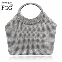 Dazzling Women Silver Crystal Evening Totes Bags Bridal Diamond Handbags Purses Wedding Clutches Ladies Party Prom Clutch Bag