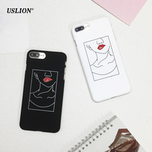 USLION Fashion Sexy Red Lips Phone Case For iPhone 7 6 6s Plus Ultraslim Sketch Hard PC Cases Back Cover Capa For iPhone7 Plus
