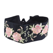 Elegant Ladies Bow Waistband with Flower Embroidery Corset Belts Black Fashion Dames Riemen New Wide Belts for Womens Dresses