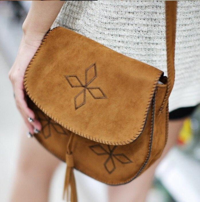 Womens work bags Bohemia hand embroidery women shoulder bags Faux suede vintage fringe tassel messenger handbags<br><br>Aliexpress