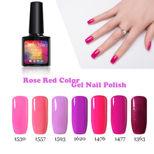 UV Gel Nail Polish Lacquer Bling BELLE FILLE Rose Red Pink Color Need Top and Base Gel Nail Direction Color fingernail Polish