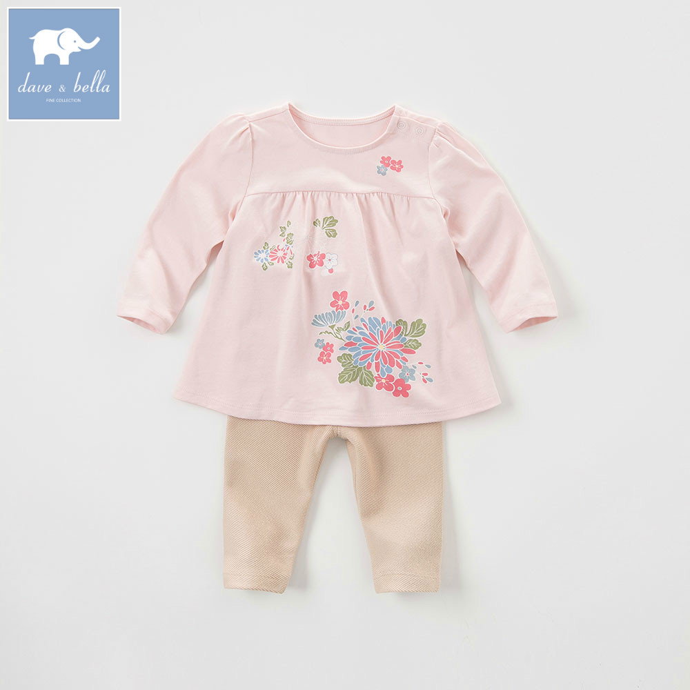 DB5840 davebella autumn baby girls light pink clothing sets printed suit children clothing sets floral clothes<br>