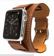 YIFALIAN Genuine Leather Watch Band Cuff Strap for iWatch Apple Watch series 3/2/1 38mm 42mm Wrist Belt Bracelet + Adapters(China)