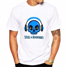 SKULL and headphones punk t shirt men jollypeach new comfort hip hop fashion tshirt homme Short Sleeve Plus Size mens T-shirt(China)