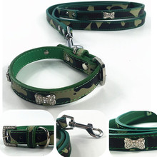 Luxury Camouflage Army Green Cool Dog Collar and Walking Leash Lead Set With Rhinestones For Small Doggy Puppy Chihuahua Cats(China)