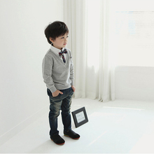 New Chilren Kids Boys School T-shirts Bow Tie Long Sleeve Sweater Pullover Tops Shirts 1-4T Hot
