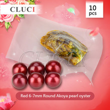 CLUCI Interesting gift 10pcs/bag Vacuum-Packed Sea Akoya Wish Pearl Oyster Beads Red 6-7mm DIY Luxury Jewelry For women(China)