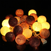 3Meters Fabric Cotton Ball 20 LED String Lights Fairy Xmas  Christmas Wedding Holiday Party Home Decoration Lamp Bulb US Plug