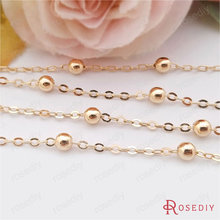 1 Meter width 1.6MM 24K Champagne Gold Color Plated Brass Station Ball beads Flat Oval Chains Necklace Chains Accessories