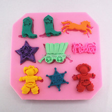 Wild West Cowboy theme Silicone Candy Mold, include cowboy boot, horse,Cow boy Sherriff  upcake topper Mould,
