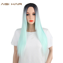 AISI HAIR Synthetic Ombre Green Wig Long Straight Hair for Black Women(China)