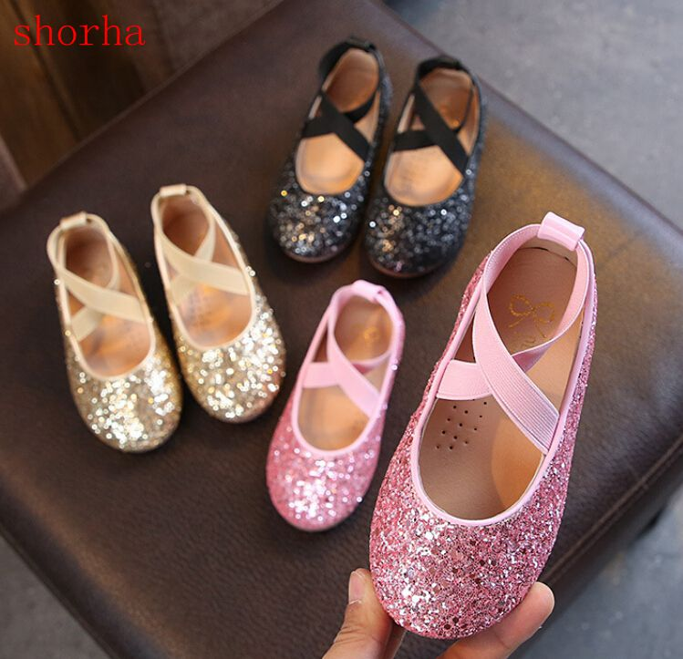 Toddler Kids Girls Shimmer Princess Party Shoes Dance Leather Casual Single Shoe