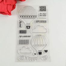 Coolhoo 1pc fire balloon TPR Silicone clear Transparent Stamp DIY Scrapbooking/Card Making/ Decoration Supplies(China)