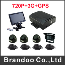 4CH 720P HDD Type Car Mobile DVR With 3G+GPS Function Kit Including 4pcs Car Monitor(China)