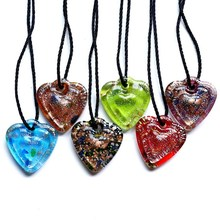 Fashion Gold Dust Necklace For Women Unique Mix Color Style Love Heart Lampwork Murano Art Glass Pendant Necklace wholesale 2015(China)