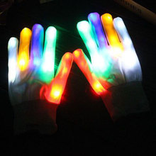 6Modes Glow Gloves Flashing Light Halloween Party LED Luminous Full Finger Knit Glow Gloves Novelty light