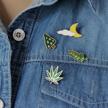 Free Shipping Cute Leaves Clouds Moon Tree Maple Leaf Enamel Brooch Pin Jeans Clothes Badge Fashion Jewelry Wholesale For Women(China)
