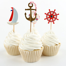 24pcs Ocean Style Party Supplies Cartoon Cupcake Toppers Pick Birthday Decoration Kids Party Favors