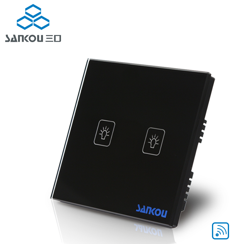 UK Standard 2Gang 220V Remote Control Light Touch Switch , Black Glass Panel Smart Switches ,Csnkou Manufacturer<br>