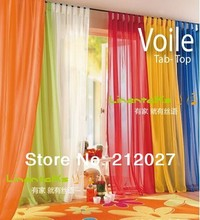 Free Shipping Europe Gauze curtain, polyester Voile window curtain with hanging loop,20 kind of color to choose 4pcs/lot(China)