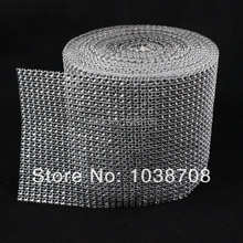 Stones And Crystals Promotion Plastic Mesh Trimming 24 Rows Sew On High Quality 4mm Silver 10y/roll Base for Garment Cpam free(China)