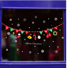 Large wall stickers shop shops glass doors window stickers arrangement decorations bunting dress bells snowflakes
