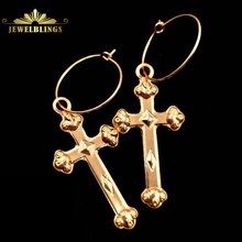 Religious Jewelry Hinged Hoop Cross Earrings Gold Tone Snap Closure Round Circle and Dangling Cross Drop Earrings for Unisex