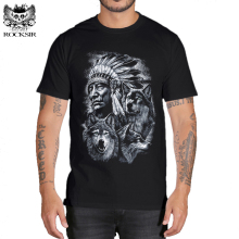 Rocksir 3d wolf t shirt mens Brand 3D Indians wolf Print t shirts Cotton wolves Men t-shirt Casual Man Tees Mens Tops(China)