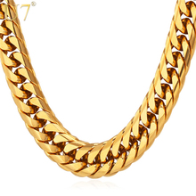 U7 Miami Cuban Chains For Men Hip Hop Jewelry Wholesale Gold Color Thick Stainless Steel Long Big Chunky Necklace Gift N453(China)