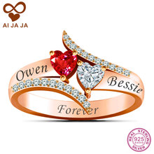 AIJAJA Customized 925 Sterling Silver Name Engraved & Two Heart Stone Promise Ring, Rose Gold Color Paved CZ Diamonds Jewelry