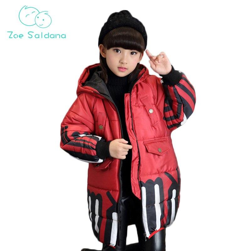 Zoe Saldana Girls Coat 2017 New Winter Baby Girl Clothes Printed Hooded Warm Parkas Teenager Thicken Down Cotton Loose CoatsÎäåæäà è àêñåññóàðû<br><br>
